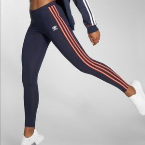 Navy blue& orange 3 stripes  adidas leggings.